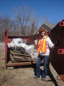 Bonnie with a little of her 'haul' from her clean up efforts