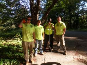 Trail Crew ready to get to work at the Macomber Estate, open space, Framingham