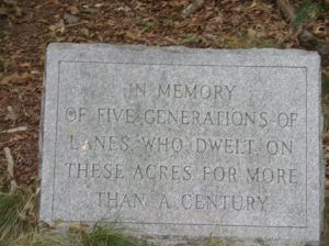 Stone marker near parking area at Lane Conservation area, Foxboro, MA