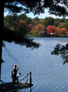 Fishing at Mrs. Perreault's dock