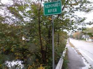 A sign! The Neponset river