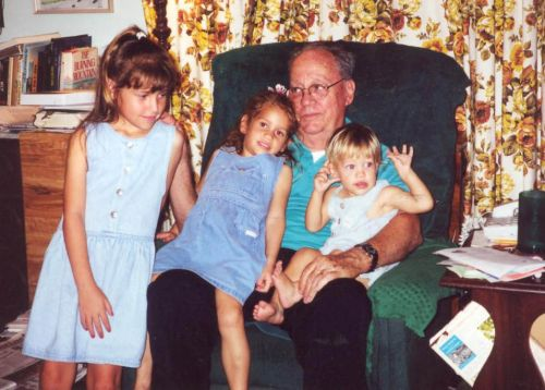 Grampie's green chair and grandchildren