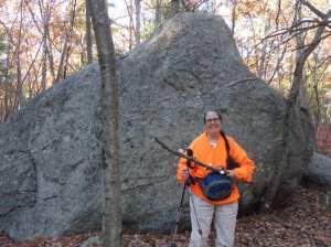 Massive rocks along this trail at Adams Street, Holliston