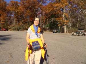 At the end of a fun walk, wearing my blaze orange in the fall!