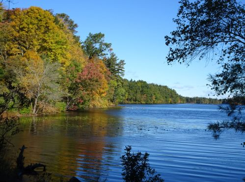 Alke Whitehall, with fall colors, still lake water,blue sky