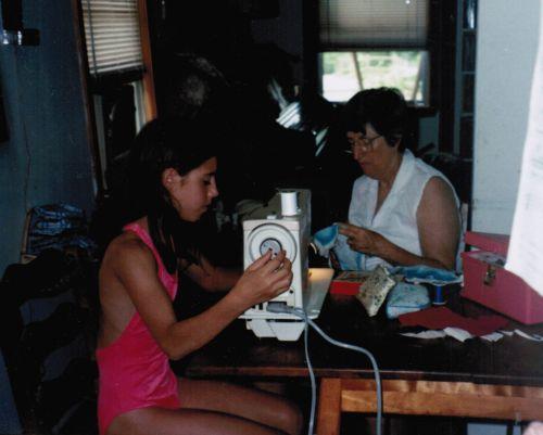 Anna, Grannie sewing